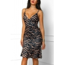 Womens Trendy Leopard Printed V-Neck Sleeveless Black Midi Ruffled Bodycon Slip Dress