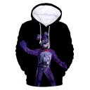 Funny Game Teddy Bear 3D Printed Long Sleeve Sport Loose Unisex Black Hoodie