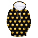 Funny Allover Cartoon Sad Face Emoji Printed Long Sleeve Loose Sport Hoodie