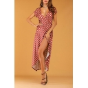Womens Elegant Surplice V-Neck Short Sleeve Split Front Classic Polka Dot Print Maxi Wrap Dress