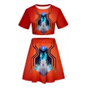 Summer Popular Spider Printed Short Sleeve Crop Tee with Mini A-Line Skirt Two-Piece Set