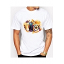 Coloful Painting Camera Print Short Sleeve Round Neck White T-Shirt