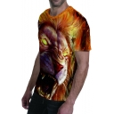 Guys Cool Yellow Tiger 3D Printed Round Neck Short Sleeve Basic T-Shirt