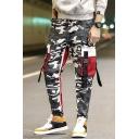 Cool Fashion Camouflage Print Buckle Strap Flap Pocket Drawstring Waist Men's Cotton Cargo Pants
