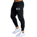 Men's Fashion Simple Letter STAR Printed Drawstring Waist Slim Sport Joggers Sweatpants