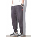 Men's Summer Trendy Stripes Printed Drawstring Waist Thin Liner Tapered Pants