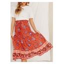 Womens Summer Fancy Floral Printed Ruffled Tied Waist Cotton Midi Red Beach Flowy Skirt