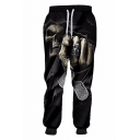 New Fashion 3D Skull Printed Drawstring Waist Black Casual Joggers Sweatpants