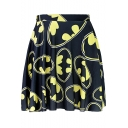 Popular Allover Bat Print High Rise Mini Pleated Navy Skirt