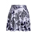 Vintage Monochrome Newspaper Printed Mini A-Line Pleated Skater Skirt