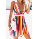 Summer Fancy Colorful Striped Print Sexy Plunging V-Neck Sleeveless Mini A-Line Slip Dress