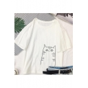 Girls Cute Cartoon Cat Printed Round Neck Loose Casual Tee