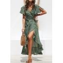 Summer Womens Fancy Floral Printed Surplice V-Neck Split Short Sleeve Tied Waist Maxi Wrap Dress