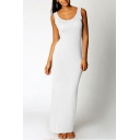 Hot Popular Simple Plain Scoop Neck Sleeveless Maxi Sheath Tank Dress