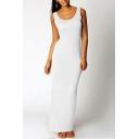 Hot Popular Simple Plain Scoop Neck Sleeveless Maxi Sheath Tank Dress