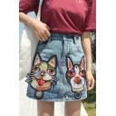Girls Cute Cartoon Dog Embroidery Light Blue Mini A-Line Denim Skirt