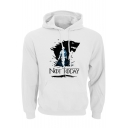 Cool Wolf Head NOT TODAY Print Long Sleeve Sport Loose Pullover Hoodie
