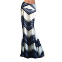 Womens Trendy Tribal Striped Printed High Rise Floor Length Maxi Bodycon Flared Skirt