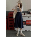 Girls Preppy Style Vintage Navy Blue High Waist Midi A-Line Pleated Skirt
