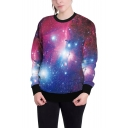 Popular 3D Purple Galaxy Pattern Round Neck Long Sleeve Loose Fit Sweatshirt