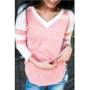 Trendy V-Neck Striped Long Sleeve Colorblock Pink Casual Sweatshirt