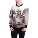 3D Cool Tiger Pattern Basic Crewneck Long Sleeve Casual Loose Sweatshirt