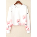 Simple Floral Bird Printed Round Neck Long Sleeve White Crop Sweatshirt