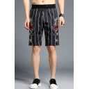 Summer New Fashion Pinstriped Dinosaur Printed Drawstring Waist Men's Black Cotton Casual Shorts