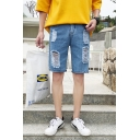 Men's Fashion Popular Destroyed Ripped Detail Light Blue Straight Denim Shorts