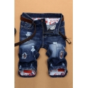 Men's Summer Stylish Patched Ripped Detail Dark Blue Zip-fly Denim Shorts
