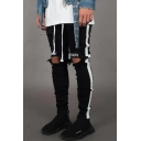 New Stylish Letter Embroidery Knee Cut Stripe Side Casual Ripped Skinny Jeans for Men