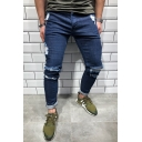 Men's Popular Fashion Knee Cut Dark Blue Casual Ripped Skinny Jeans