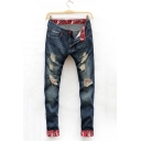 New Stylish Camouflage Print Patched Rolled Cuffs Regular Fit Blue Ripped Jeans for Men