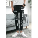 Men's Stylish Letter Stripe Printed Rolled Cuffs Black Slim Fit Casual Jeans