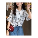 Summer Fashion Vertical Striped Print Twist Hem Loose Casual Shirt Blouse