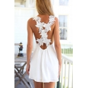 Summer Fancy White Crochet Open Back V-Neck Sleeveless Mini A-Line Chiffon Tank Dress