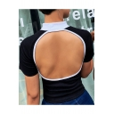 Womens Summer Sexy Open Back High Neck Short Sleeve Black Fitted T-Shirt