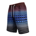New Fashion Colorblocked Stripe Pattern Black Drawstring Waist Beach Shorts Swim Trunks for Men with Pockets and Mesh Lining