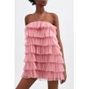 Womens Designer Unique Halter Neck Sexy Open Back Pink Mini Layered Ruffle Dress