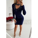 Womens Stylish Curved V-Neck Pearl Embellished Long Sleeve Mini Bodycon Dress