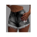 Womens Summer Hot Popular Ripped Fringed Hem Slim Fit Denim Shorts