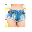 Womens Sexy Night Club Sheer Mesh Panel Pocket Fringed Hem Hot Pants Denim Shorts