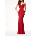 Womens New Stylish Plain Luxurious Halter V-Neck Sexy Cutout Back Maxi Red Evening Gown Dress