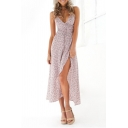 Womens Hot Fashion Floral Printed V-Neck Sleeveless Split Side Maxi Wrap Slip Dress