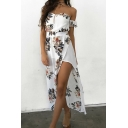 Womens Trendy Holiday White Tropical Leaf Printed Sexy Off the Shoulder Split Side Asymmetrical Dress