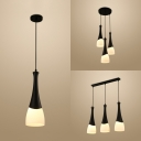 Nordic Simple Style Mini Hanging Light Metal and Glass Shade 1/3 Head Pendant Lamp in Black