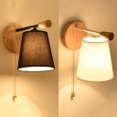 Fabric Tapered Shade Wall Sconce with Pull Chain Modern Simple 1 Light Wall Lamp in Black/White