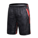 Men's Hot Fashion Cosplay Camouflage Printed Colorblocked Stripe Side Black Mesh Cloth Casual Shorts