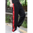 Men's New Fashion Contrast Tape Patched Side Button Embellished Loose Fit Sports Track Pants