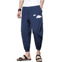 New Fashion Chinese Style Cloud Embroidery Elastic Cuffs Cropped Liner Harem Pants for Men
